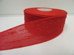 2 metres or 10 metre Roll 25mm 38mm Red Vintage Slub Ribbon Cotton Net Bouncle